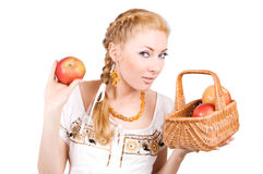 Woman with red apples Stock Images