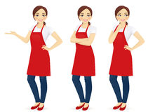 Woman in red apron. Beautiful woman in red upron standing in different poses isolated Royalty Free Stock Photos