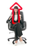 Woman with red arrow Stock Image
