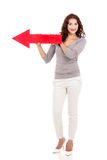 Woman red arrow Royalty Free Stock Image