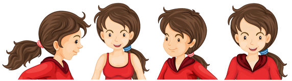 Woman in red athlete costume. Illustration royalty free illustration