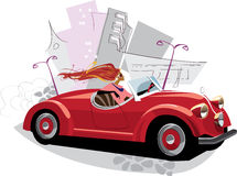 Woman in the red auto. Vector drawing of a fashionable woman in red retro auto Stock Images