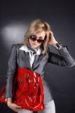 Woman with red bag Royalty Free Stock Images