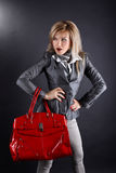 Woman with red bag Royalty Free Stock Image