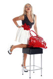 Woman with red bag isolated on white Royalty Free Stock Photos
