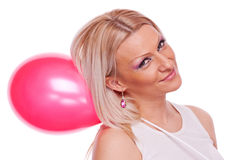 Woman with red balloon Royalty Free Stock Images