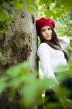 Woman with red beret Stock Photography