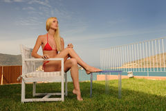 Woman in a red bikini Royalty Free Stock Photos