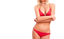 Woman in red bikini with copy space. Stock Image