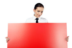 Woman with red billboard Royalty Free Stock Photography