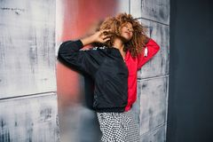 Woman in Red and Black Bomber Jacket Royalty Free Stock Photos
