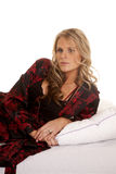 Woman red and black robe side serious Royalty Free Stock Photos