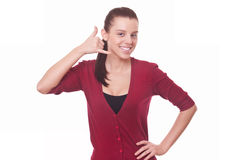 Woman in red blouse making gesture call me Stock Images