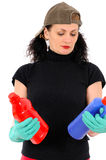 Woman with red and blue bottle Royalty Free Stock Photo