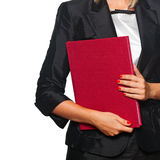 Woman with red book Stock Photos