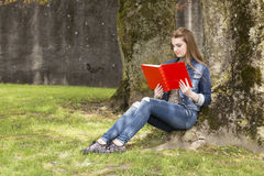 Woman with red book 1 Royalty Free Stock Images