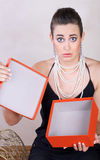 Woman with red box royalty free stock images