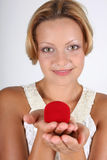 Woman with red box for jewellery Stock Image