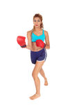 Woman with red boxing cloves. Stock Images