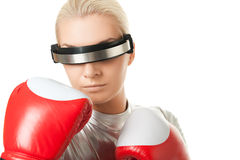 woman with a red boxing gloves Royalty Free Stock Photos