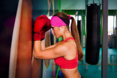 Woman red boxing gloves Stock Image