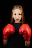 Woman with red boxing gloves Stock Photos