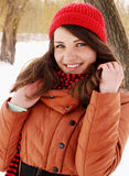 Woman in a red cap Royalty Free Stock Photography