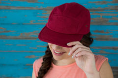 Woman in red cap Royalty Free Stock Photography