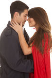 Woman Red Cape Man Coat Almost Kiss Royalty Free Stock Photo