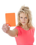 Woman with red card Royalty Free Stock Photos