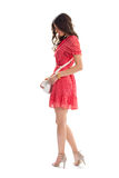 Woman in red casual dress. Stock Images