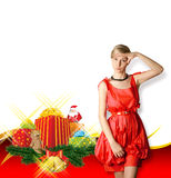 Woman In Red With Christmas Gifts Royalty Free Stock Photos