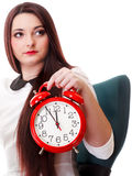 Woman with red clock. Time management concept. Stock Photo