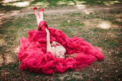 Woman in red cloudy dress Stock Photos