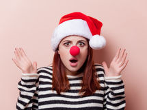Woman with red clown nose Stock Photos