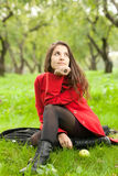 Woman in red coat Stock Image