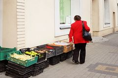 A woman in a red coat chooses vegetables laid out in boxes at the entrance to a grocery store on the street. Harvest fields and or royalty free stock photos