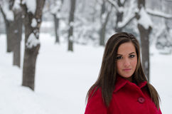 Woman in red coat portrait Royalty Free Stock Image