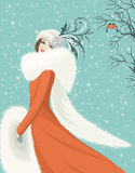 Woman in red coat. Portrait of elegant woman in a red coat with long fur collar on snowy background. Vector illustration Royalty Free Stock Photo