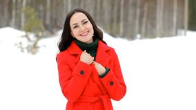 Woman in red coat posing in winter forest stock video footage