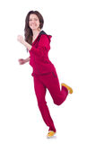 Woman in red costume doing exercises Stock Photo