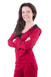 Woman in red costume doing exercises Royalty Free Stock Photo