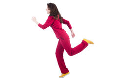 Woman in red costume doing exercises Royalty Free Stock Photography
