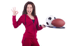Woman in red costume in sports Stock Photo