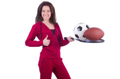 Woman in red costume in sports Stock Images
