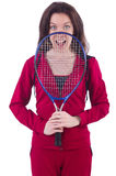 Woman in red costume in sports Royalty Free Stock Photos