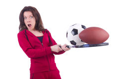 Woman in red costume in sports Stock Photography