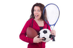 Woman in red costume in sports Royalty Free Stock Photo