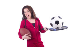 Woman in red costume Stock Photo