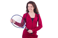 Woman in red costume Royalty Free Stock Photo